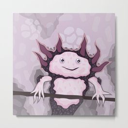 Cute purple Axolotl Metal Print