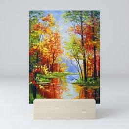 Autumn pond Mini Art Print