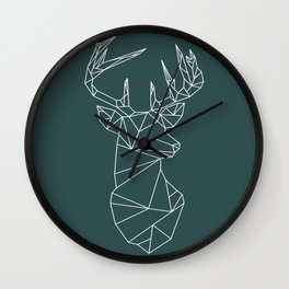 Geometric Stag (White on Slate) Wall Clock