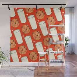 Milk & Cookies Pattern - Red Wall Mural