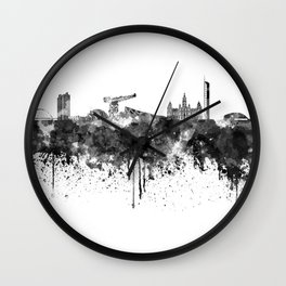 Glasgow skyline in black watercolor Wall Clock
