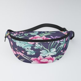 Chinoiserie french navy floral Fanny Pack