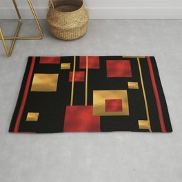 Red and Gold Foil Blocks Rug