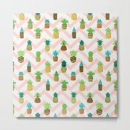 Pineapples Pattern Cute 888 Metal Print