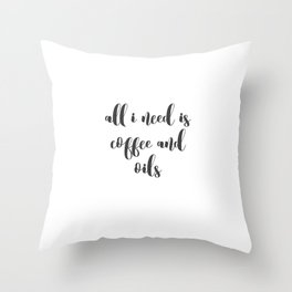 Coffee and Oils Throw Pillow