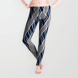 Gray and Blue Stripes Leggings