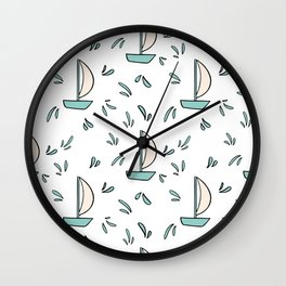 Children toys in cartoon style. Hand drawn baby paper ship. Wall Clock