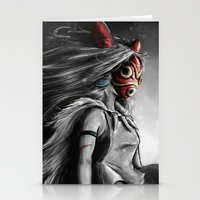 princess Stationery Cards featuring Miyazaki's Mononoke Hime Digital Painting the Wolf Princess Warrior Color Variation by Barrett Biggers