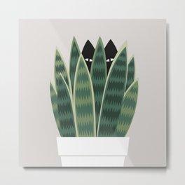 Cat and Plant 22: Sneak Plant Metal Print