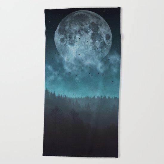 Moon over Trees Beach Towel
