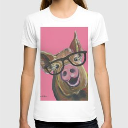 Pink Pig Painting, Cute Farm Animal T-shirt