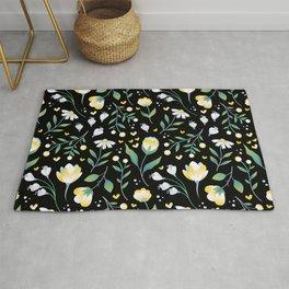 Colourscape Summer Floral Pattern Black Rug