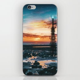 Beacons: Towers crowned by Flames on a Sunrise Beach iPhone Skin
