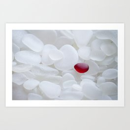 Drop of Red - Japanese Red Sea Glass Art Print