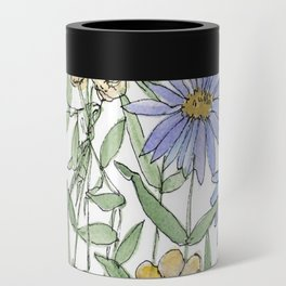 Asters and Wild Flowers Botanical Nature Floral Can Cooler