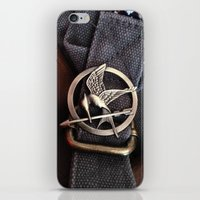 mockingjay iPhone & iPod Skins featuring Mockingjay by AndyGD