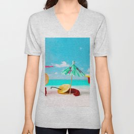 Happy beach hours Unisex V-Neck