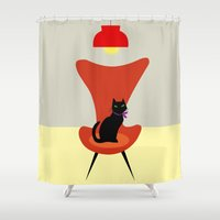 sofa Shower Curtains featuring Cat on a sofa by The Red Umbrella Shop