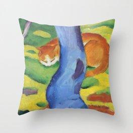 """Franz Marc """"Children's Picture: Cat behind a Tree (Kinderbild: Katze hinter einem Baum)"""" Throw Pillow"""