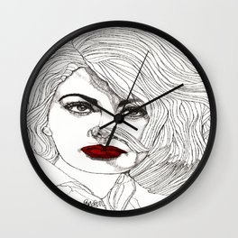 Sophia with Red Lips Wall Clock