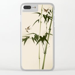 Oriental style bamboo branches 001 Clear iPhone Case