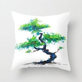 Blue Bonsai Throw Pillow