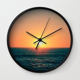 Sun setting in Portugal, Peniche. Wall Clock