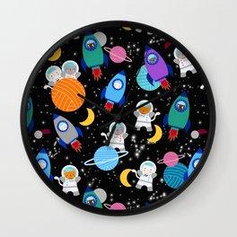 Space Cats Astronaut Kittens Rocket Ship Pattern Wall Clock