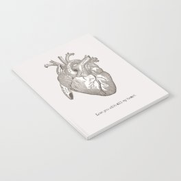 Love you with all my heart vintage illustration Notebook
