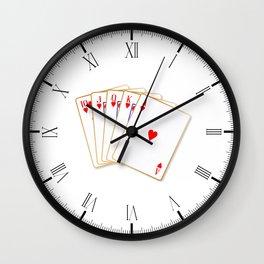 Ace Hearts Flush Wall Clock