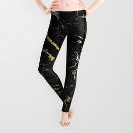 Gold Flecked Black Marble Leggings