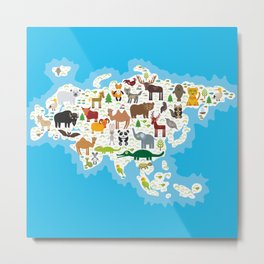 Eurasia animal bison bat fox wolf elk horse cock camel partridge fur seal Walrus goats Polar bear Metal Print