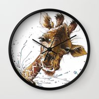 giraffe Wall Clocks featuring Giraffe by TAOJB