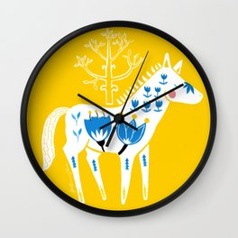 Folk horse on yellow Wall Clock