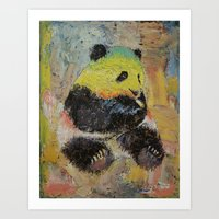 rasta Art Prints featuring Rasta Panda by Michael Creese