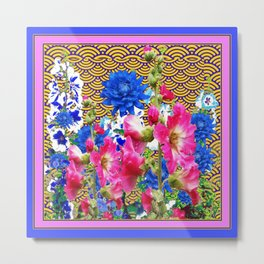 Abstracted Blue & Pink Flowers on Oriental Patterns Metal Print