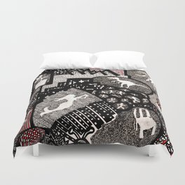 Objects Inside Shapes Duvet Cover