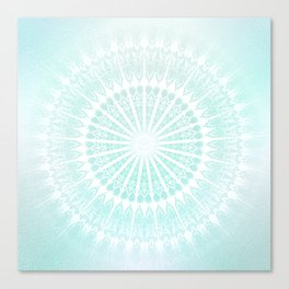 Turquoise Glittering Mandala Canvas Print