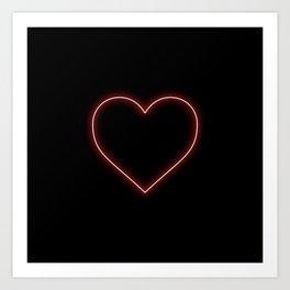 Neon Red Valentines Love Heart Art Print