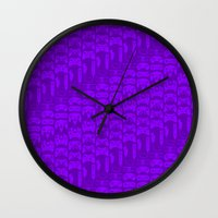 video game Wall Clocks featuring Video Game Controllers - Purple by C.Rhodes Design