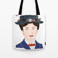 mary poppins Tote Bags featuring Mary Poppins by Bubble Trump Ltd