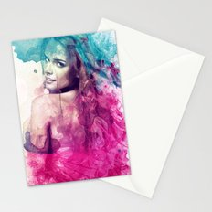Woman in Splash of Watercolor Stationery Cards