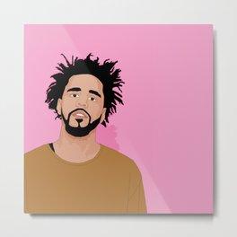 J Cole, Pink Metal Print