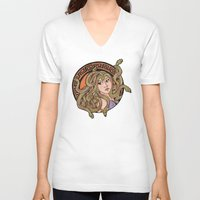 medusa V-neck T-shirts featuring Medusa by agentofanarchy
