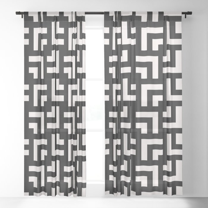 Bold geometric pattern - Stripe Tile Sheer Curtain