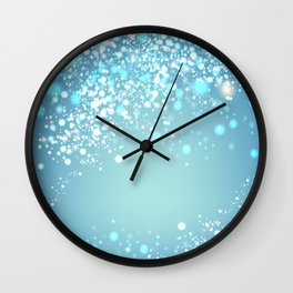 Vector silver glitter particles background effect for luxury greeting card. Star dust sparks in explosion on blue background. Sparkling texture Wall Clock