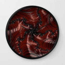 Red Black Funky Wild Cool Masculine Stylish Abstract Fractal Art Design Wall Clock