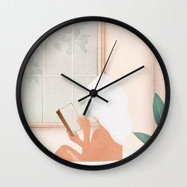 Reading Girl in Bathtub Wall Clock