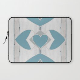 Decorative Abstract Heart Design over Wood Laptop Sleeve
