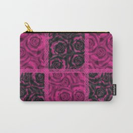 Raspberry patchwork Roses. Carry-All Pouch